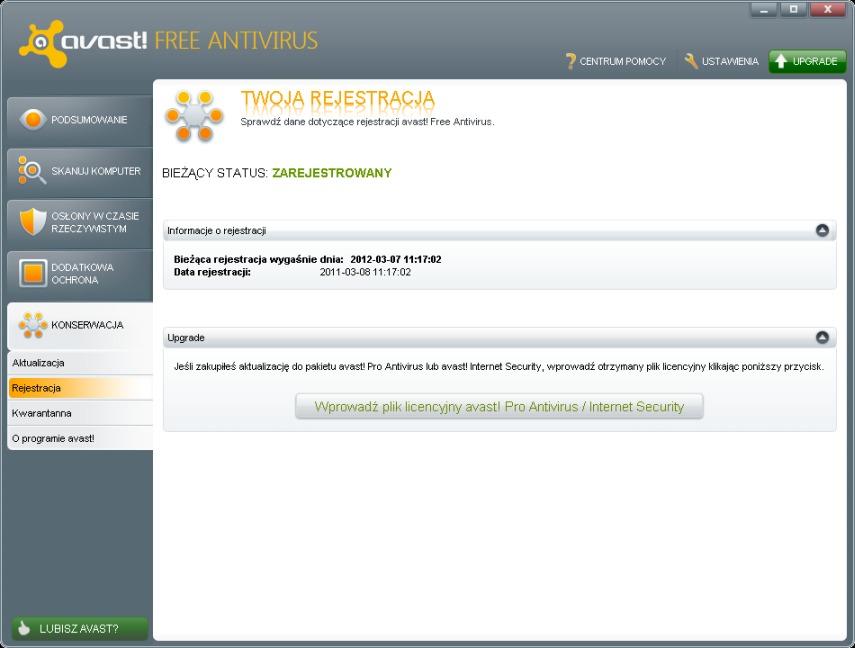 Darmowa rejestracja antywirusa Avast 6 5